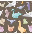 Origami animals seamless pattern vector