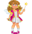 Pretty little girl in pink with magic wand vector