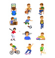 Boy activities vector