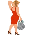 Cartoon woman in red dress and bag with fish back vector