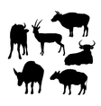 Cow bull and deer black silhouette on white vector