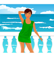 Girl on quay at the sea - vector