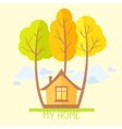Trees and house flat vector