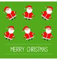 Funny cartoon santas green background vector
