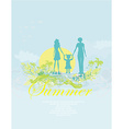 Family silhouette over tropical background card vector