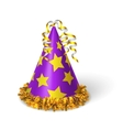 Birthday violet hat with yellow stars vector