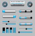 Set of blue slider bar controls vector