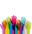 Group of colored hands up with copy space vector