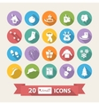 Flat winter icons set with long shadow scarf vector