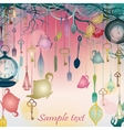 Antique colorful background with tea party theme vector