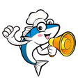 Cooks fish mascot the left hand best gesture and r vector