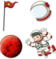 An astronaut a helmet a banner and a planet vector