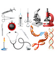 Set of laboratory tools and equipments vector
