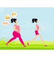 Young woman joggingfat girl dreams of unhealthy vector