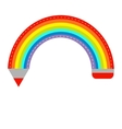 Colored pencil in shape of rainbow isolated flat vector