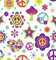 Hippie style psychedelic elements seamless pattern vector