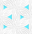 White geometrical flower like shapes with blue vector