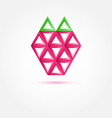 Strawberry icon made with triangles - abstract vector