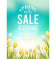 Bright blue sky field of tulips typography vector