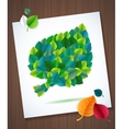 Colorful leaves card concept on super wood vector