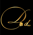 Gold letter d with roses vector