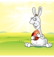 Cute easter bunny on spring meadow image vector