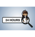 Service search 24 hours center girl cartoon vector