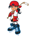 Cute tough girl hockey player vector