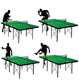 Ping pong players with green table vector