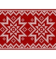 Red knitted stars sweater in norwegian style vector