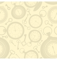 Vintage seamless pattern with clocks and keys vector