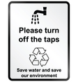 Turn off water information sign vector