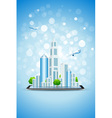 Blue background with business city on tablet compu vector