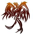 Fier phoenix bird tattoo an gray background vector