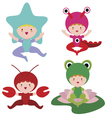 Four little kids in fantasy costumes vector