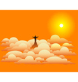 Statue of jesus christ in the clouds vector