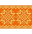 Orange knitted stars sweater in norwegian style vector