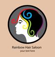 Rainbow hair saloon logo vector