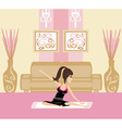 Young woman practicing yoga indoors vector
