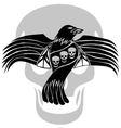 Black death crow flying on skull background vector