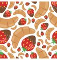 Croissant and strawberry in chocolate seamless pat vector