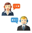 Male and female call center avatars vector