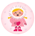 Cute eskimo girl holding heart isolated on white vector