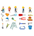 Construction worker set vector