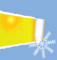 Tearing paper with sun and snowflakes color vector
