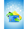Blue background with credit cards and green arrows vector
