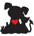 Puppy kitten silhouette vector