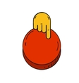 Cartoon style hand push a red button vector