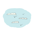 Doodle sky with clouds vector