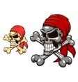 Pirate skull with crossbones vector